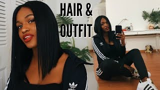 WATCH ME SLAY THIS BLUNT BLACK BOB WIG AND ADIDAS OUTFIT IN 4 MINUTES! | KIITANA