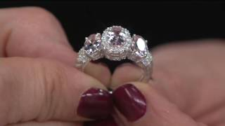 Judith Ripka Sterling Silver 1.70 cttw Morganite Three Stone Ring on QVC
