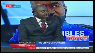 Advocate Jesse Oduor explaining the charges governing forgery claims