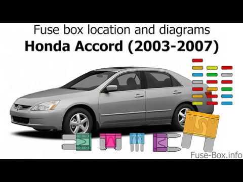 Fuse box location and diagrams: Honda Accord (2003-2007)