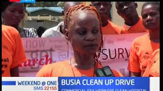 Commercial sex workers in Busia county hold a clean-up exercise of the Busia county