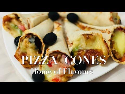 PIZZA CONES || BREAD PIZZA CONE RECIPE || Easy And Quick Pizza Cone Recipe