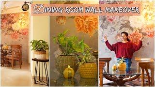 Dining Room Wall Makeover | How To Hang Wallpaper (Hindi)