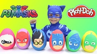 PJ Masks Play Doh Eggs - Learning Colors with Toy Surprise Opening Catboy in Real life Mystery Toys