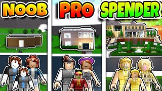 Roblox NOOB vs PRO vs ROBUX SPENDER FAMILY HOUSE BUILD in BLOXBURG