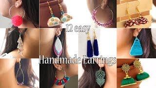 12 Easy DIY Earrings   Handmade Jewellery   Jewellry Making