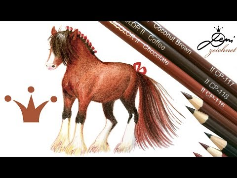 🐴👍🏾 Shire Horse Drawing ✍🏽🐎  Schokoladen Pferd zeichnen mit Zenacolor Stiften 🐴 Pferde malen