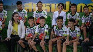 Тайские мальчики впервые после спасения выступили на телевидении