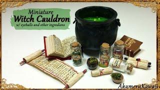 Miniature Cauldron & potion ingredients - Polymer Clay Tutorial