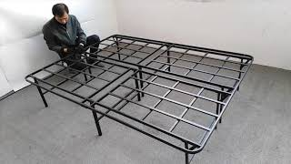 Zizin 16 Inch Platform Bed Frame (Queen Size with Headboard Brackets)