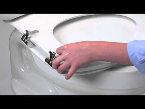 Round Toilet Seat with Brushed Nickel Hinges video thumbnail