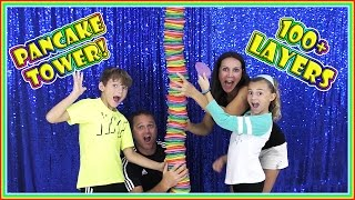 100+ LAYERS OF PANCAKES | RAINBOW PANCAKE TOWER | We Are The Davises
