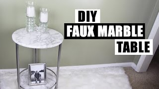 How To Apply Contact Paper To Round Curved Surfaces How To Use Contact DIY Faux Marble Side Table