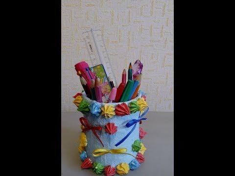 Pencil holder made of plastic bottle and putty / Карандашница из пластиковой бутылки и шпаклёвки
