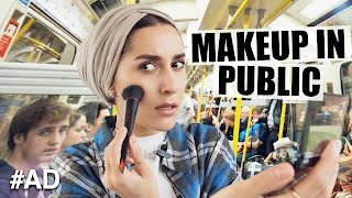 Watch Dina Tokio doing her make up on a London Tube using Revlon InstaFix foundation