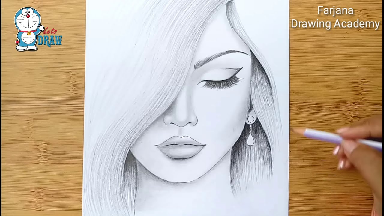 pencil drawing of a woman step by step by farjana drawing academy