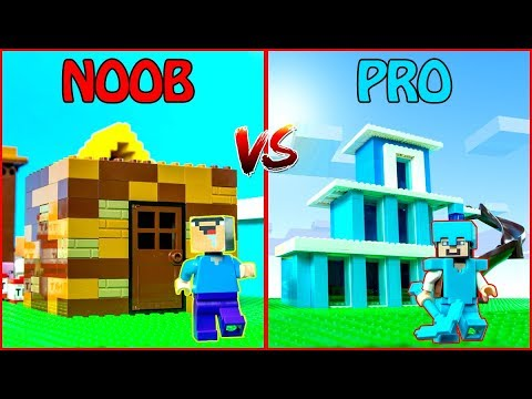 LEGO Minecraft NOOB vs PRO: HOUSE BUILD CHALLENGE in Minecraft / Animation