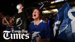 Tampa Bay Lightning fans celebrate Stanley Cup win at Amalie Arena