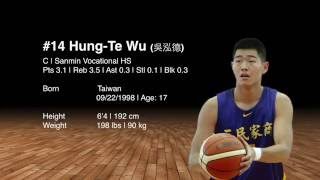 #14 Hung-Te Wu (吳泓德)|Class: 2017|高二|6'4 (192 Cm)|198 Lbs (90 Kg)|三民家商|C|Age: 17