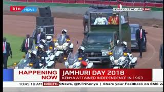 President Uhuru Kenyatta arrives at Nyayo Stadium for #JamhuriDay celebrations