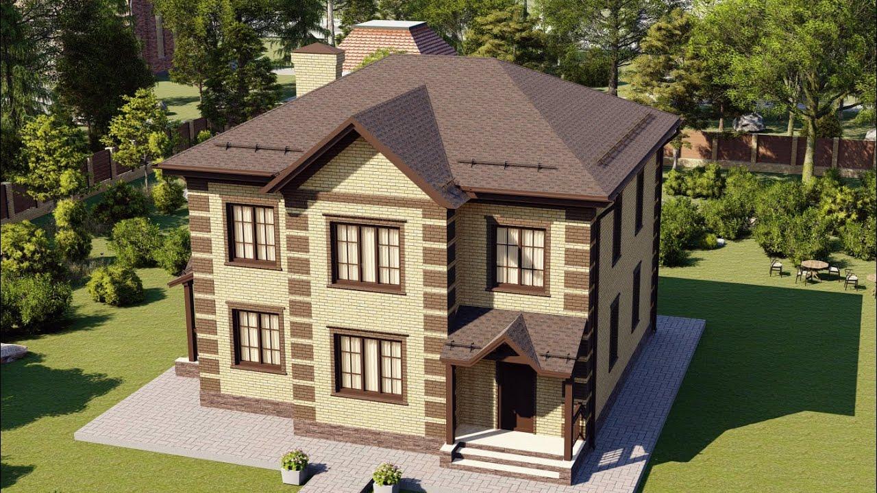 Современный красивый дом из пеноблока с облицовкой кирпичом