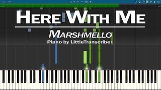 Marshmello - Here With Me (Piano Cover) ft. CHVRCHES Synthesia Tutorial by LittleTranscriber