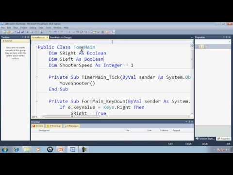 Visual Basic Express 2010 Tutorial 34 Programming The Shooter – EZInvaders Part 3 Game