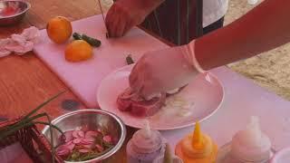 Cooking Fresh Tuna on Hot Stones at the Pueblo Bonito Pacifica Golf & Spa Resort