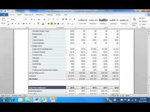 , title : 'Business Plan Financials Tutorial