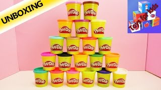 20 Cans of Play-doh in Super Color Set! - Over 1 Kilo - Play-doh Pyramid - Unboxing