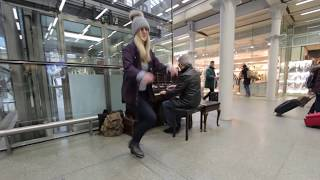 Random Girl Tap Dances impressively at the Station
