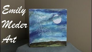 Alcohol Ink Painting on Canvas Demo, Stormy Sky with Lightning!