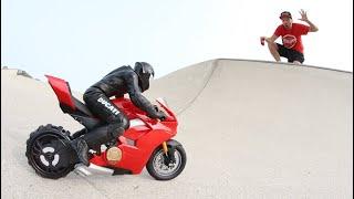 RC MOTORCYCLE At A Skatepark!