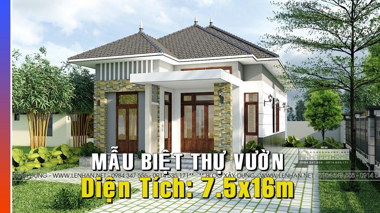 Mẫu Thiết kế Biệt Thự Vườn 7.5x16 1 tầng 800 triệu của anh Quang - Bình Dương