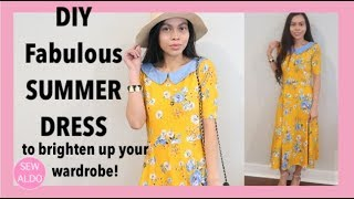 Howto DIY Peter Pan Collar Yellow Dress | Sewing for Beginners | Sew Aldo