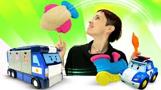 Видео для детей. Песочница и Робокар Поли. Веселая школа с Машей Капуки