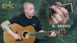 Gambar cover Learn Jason Aldean Fly Over States modern country acoustic guitar lesson w/ strumming chords slide