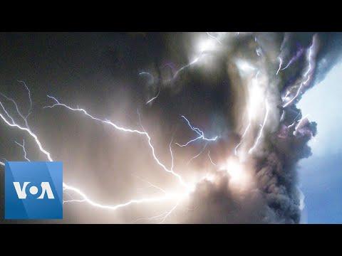 Lightning Strikes From Philippines Volcano