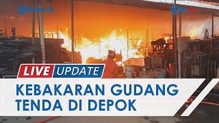 Kebakaran Gudang Tenda & Properti di Cinangka Depok, Api dan Asap Tebal Masih Membubung Tinggi