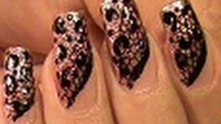 NAIL ART DESIGN TUTORIAL BLACK LACE NAILS