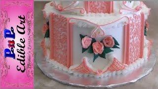 Pink Cornelli Lace Wedding Cake Bottom Tier