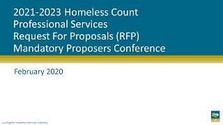 2021-2023 Homeless Count Professional Services RFP Mandatory Proposers Conference Webinar (#2)