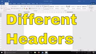 Different Headers On Different Pages-Microsoft Word Tutorial