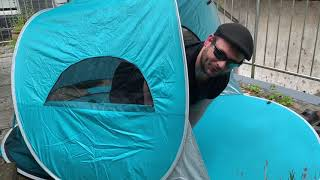 WolfWise sun protection shelter UPF 50+ Easy Pop Up 3-4 people beach tent unboxing and instructions