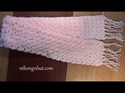 How to Crochet scarf tutorial (Engsub) I Móc khăn choàng cổ họa tiết ô vuông  đơn giản