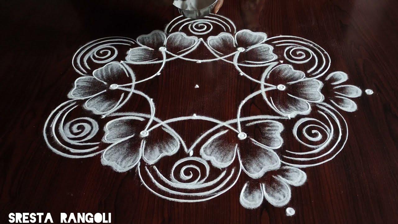 easy 5 dot kolam design by sresta rangoli