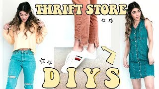 10 THRIFT STORE DIYS | Ripped Jeans, Cropped Shirts, Distressed Dress