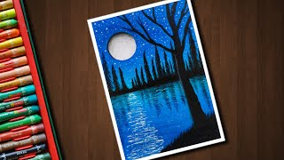 Easy Night Pond scenery drawing for beginners with Oil Pastels - step by step