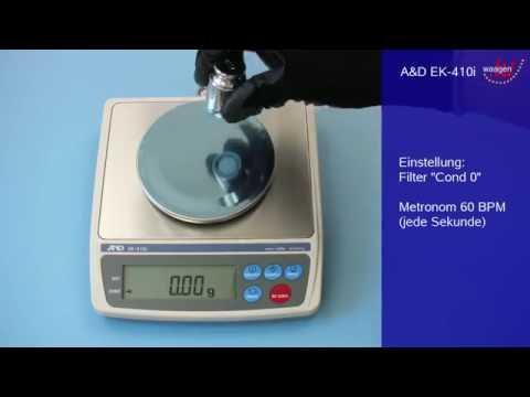 Präzisionswaage A&D EK-410i: Filltereinstellung und Stabilisierungszeit