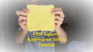 Fun and Easy Basic Knit/Garter Stitch Tutorial. The First Square of a Patchwork Blanket.